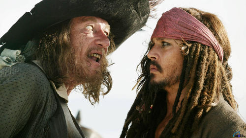 Photo: Captain Barbossa (left) has a word with Captain Jack Sparrow in Pirates of the Caribbean.