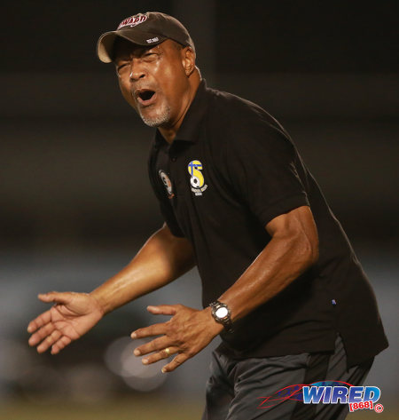 Photo: FC Santa Rosa coach Keith Look Loy reacts to action during his team's 1-0 win over Marabella Family Crisis Centre yesterday evening. (Courtesy Allan V Crane/Wired868