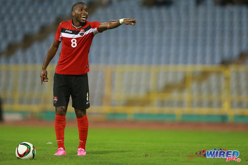 Photo: Trinidad and Tobago midfielder Khaleem Hyland points the way during last month's friendly international against Nicaragua. (Courtesy Allan V Crane/Wired868)