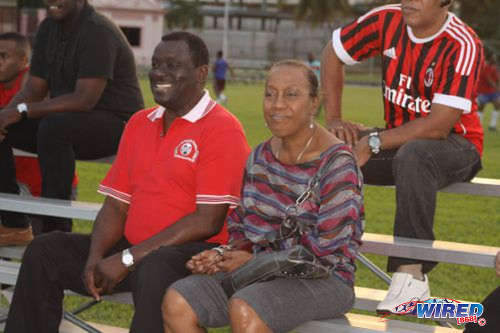 Photo: VFFOTT vice-president Selby Browne (left) at the Wired868 Football Festival. (Courtesy Wired868)