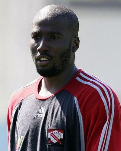 Photo: Trinidad and Tobago forward Cornell Glen during practice at the Germany 2006 World Cup.