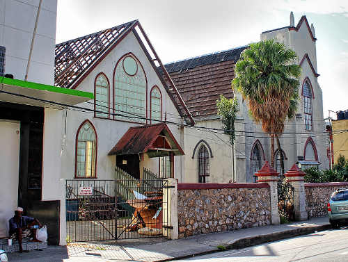 Photo: The now demolished Greyfriars Church building on Frederick Street, Port of Spain. (Copyright Flickr)