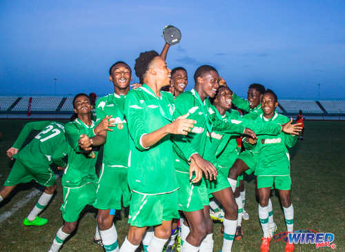 Photo: St Augustine Secondary players celebrate after their East Zone Intercol final triumph over Five Rivers Secondary yesterday evening at the Larry Gomes Stadium, Malabar. (Courtesy Amigo Garraway/Wired868)