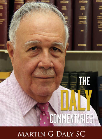 "Photo: Prolific columnist Martin Daly SC launched ""The Daly Commentaries"" in 2015."