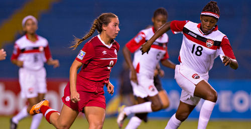Photo: Trinidad and Tobago Women's National Under-20 Team midfielder Naoemi Guerra (right) tries to close down Canada player Emma Regan during 2015 CONCACAF Under-20 Championship action in Honduras. (Copyright MexSport/CONCACAF)