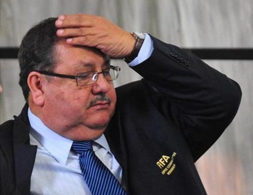 Photo: Oh shit... Former FIFA vice-president and Guatemala football president Rafael Salguero reacts to some bad news. (Copyright Soy502)