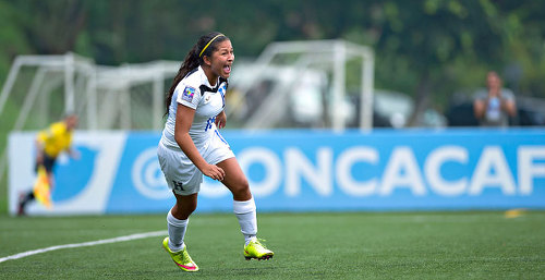 Photo: Talented 16 year old midfielder Fatima Romero celebrates Honduras' opening goal against Trinidad and Tobago in the 2015 CONCACAF Women's Under-20 Championship in Honduras. (Copyright MexSport/CONCACAF)