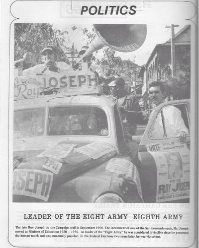 Photo: Former Education Minister Roy Joseph campaigns in San Fernando in 1956. (Courtesy Facebook)