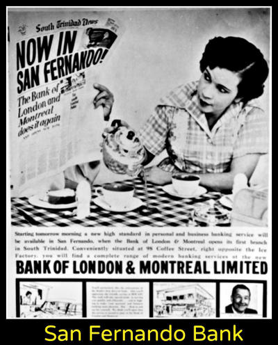 Photo: A newspaper advertisement, believed to be in the 1960s, for the opening of the Bank of London and Montreal in San Fernando. (Courtesy Facebook)