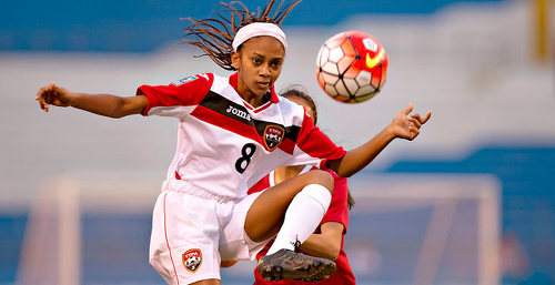 Photo: Midfielder Shanelle Arjoon looks for a teammate during Trinidad and Tobago's opening 2015 CONCACAF Women's Under-20 Championship fixture against Canada. (Copyright MexSport/Wired868)