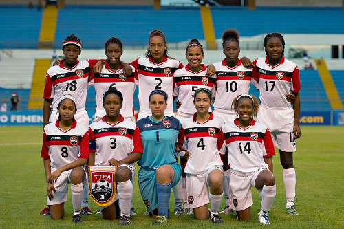 Photo: The Trinidad and Tobago Women's National Under-20 Team pose for a photograph before kick off against Canada at the 2015 CONCACAF Championship in Honduras. (Copyright MexSport/CONCACAF)