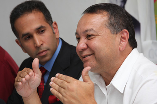 Photo: PNM chairman and Minister of Rural Development and Local Government Franklin Khan (right) and Attorney General Faris Al-Rawi. (Copyright Power 102FM)