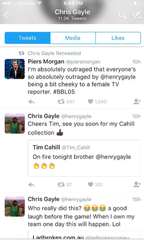 Photo: Former Australia World Cup footballer Tim Cahill and British television personality Piers Morgan were among scores of people who rallied behind West Indies cricket star Chris Gayle.