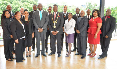 Photo: Former Port of Spain mayor Raymond Tim Kee (centre) and then deputy mayor Keron Valentine (fourth row, fourth from left) pose with the city's councillors and aldermen. (Courtesy Port of Spain City Corporation)
