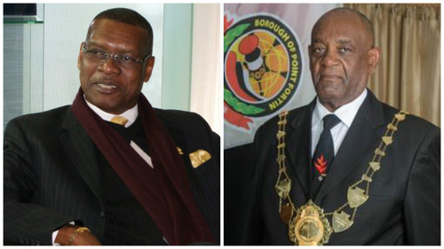Photo: Former Port of Spain mayor Raymond Tim Kee (left) and his vocal supporter Point Fortin mayor Clyde Paul. (Courtesy LoopTT)