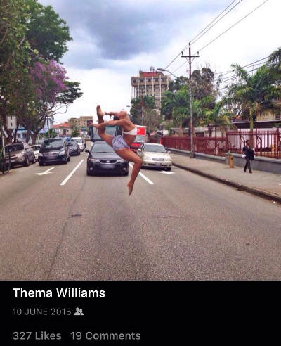 Photo: Russha Williams, the sister of Trinidad and Tobago gymnast Thema Williams, shows off her form in Port of Spain. (Courtesy Thema Williams)
