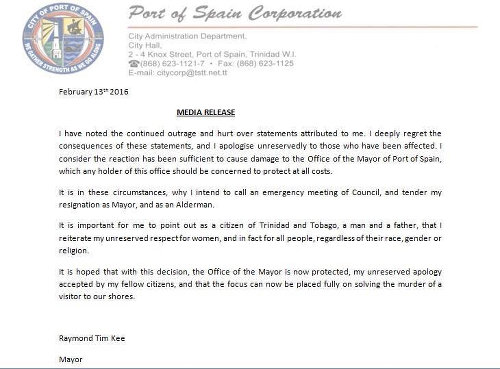 Photo: Statement from the Office of the Mayor of Port of Spain on Saturday 13 February 2016.