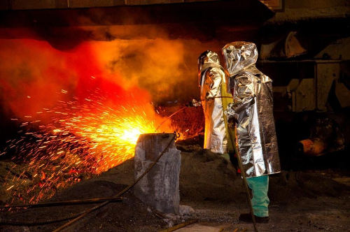 Photo: Steel workers at a blast furnace at ArcelorMittal USA. (Courtesy Glassdoor)