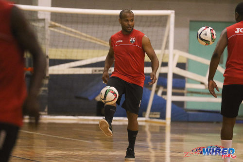Photo: Trinidad and Tobago National Futsal Team player Conrad Smith juggles the ball during practice at the Maloney Indoor Facility. (Courtesy: Chevaughn Christopher/CA-images/Wired868)