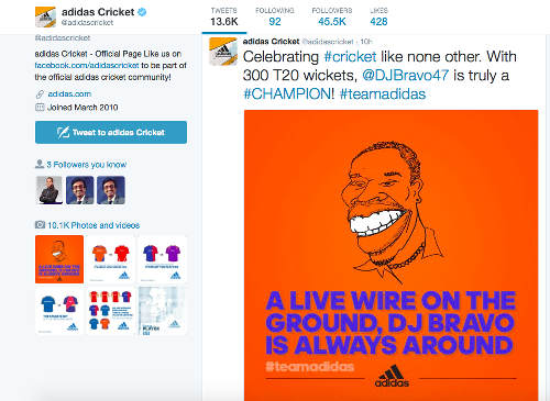 "Photo: Adidas Cricket ""celebrates"" West Indies and Trinidad and Tobago cricket star on its Twitter page. The image was subsequently taken down. (Courtesy @adidascricket)"