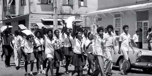 Photo: Students vent their feelings during the funeral procession for Basil Davis on 9 April 1970. (Courtesy Embau Moheni/NJAC)