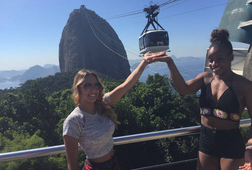 Photo: Trinidad and Tobago gymnasts Thema Williams (right) and Marisa Dick have fun sightseeing in Rio, after the Olympic Test event on 17 April 2016. (Courtesy Hannifer Dick)