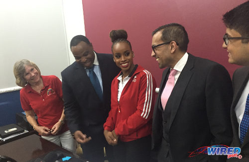 Photo: Trinidad and Tobago gymnast Thema Williams (centre) is flanked by (from left) Tots and Tumblers gymnastics club owner Annette Telfer and attorneys Keith Scotland, Dr Emir Crowne and Reza Ramjohn at a press conference on 27 April 2016 at the Virtus Chambers in Port of Spain. (Courtesy Wired868)