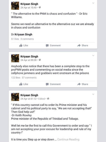 Photo: Socia media posts about the current PNM Government by Independent Senator Dr Kriyaan Singh.