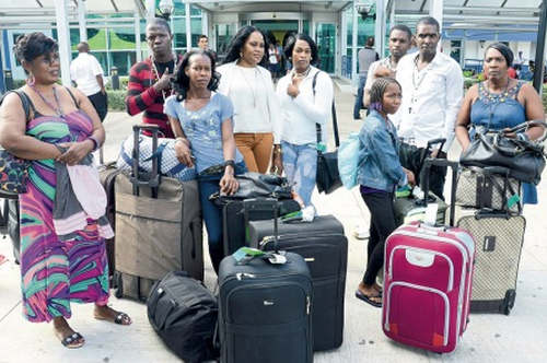 Photo: Jamaican travellers who were turned back by Trinidad and Tobago immigration officers. (Courtesy YourCommonwealth.org)