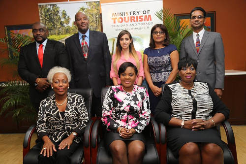 Photo: Tourism minister Shamfa Cudjoe (front centre) and the TDC board pose for a photograph on 12 November 2015. The members are (front row: left to right) chairman Dennise Demming, Frederica Brooks-Adams, (back row: left to right) Davlin Thomas, Eric Taylor, Tonya Laing, Sherry Katwaroo-Ragbir and Dennis Sammy. Missing is Richard Duncan.