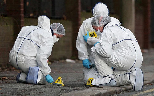 Photo: Forensic scientists collect data at a crime scene.