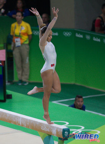 Photo: Trinidad and Tobago's Marisa Dick goes through her routine on the balance beam at the Rio Olympic Games on 7 August 2016. (Courtesy Sean Morrison/Wired868)