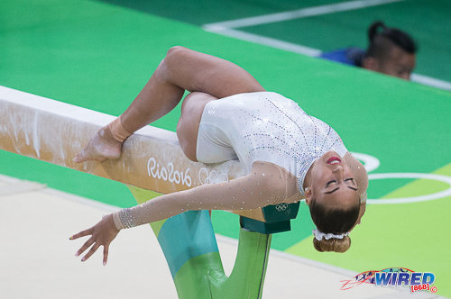 Photo: Trinidad and Tobago's Marisa Dick performs on the balance beam at the Rio 2016 Olympic Games on 7 August 2016. (Courtesy Sean Morrison/Wired868)