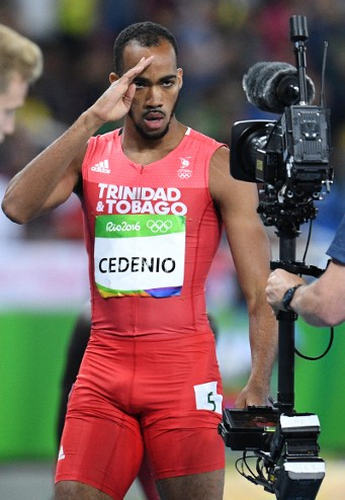 Photo: Trinidad and Tobago's then 20-year-old one-lap specialist Machel Cedenio gestures before competing in the Men's 400m Semifinal at the Rio 2016 Olympic Games on 13 August 2016. (Copyright Johannes Eisele/AFP 2016)