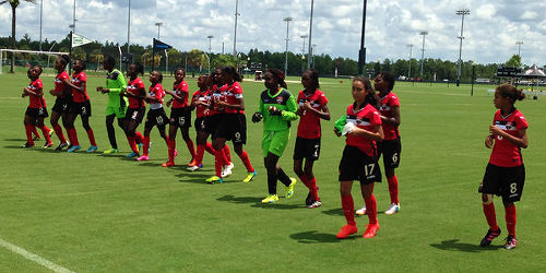 Photo: The Trinidad and Tobago Women's National Under-15 Team warms down after their 4-0 win over the Dominican Republic on 10 August 2016 in the CONCACAF Championships. (Courtesy CONCACAF)