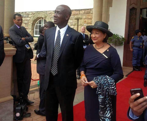 Photo: Trinidad and Tobago Prime Minister Dr Keith Rowley (left) and Opposition Leader Kamla Persad-Bissessar SC. (Copyright Power102fm)