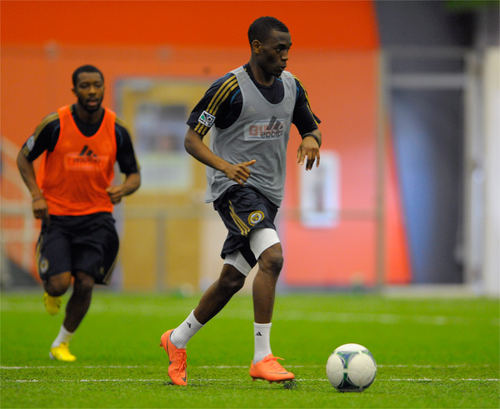 Photo: Former Trinidad and Tobago National Under-20 Team defender Damani Richards (right) trains with Philadelphia Union in January 2013.