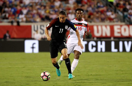 Photo: United States midfielder Alejandro Bedoya (left) speeds away from Trinidad and Tobago winger Levi Garcia during FIFA 2018 World Cup qualifying action at the EverBank Field on 6 September 2016 in Jacksonville, Florida. (Copyright Sam Greenwood/Getty Images)