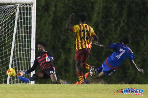 Photo: Point Fortin Civic goalkeeper Miles Goodman (left) saves a low effort from St Ann's Rangers midfielder Sedale McClean during Pro League action on 30 October 2016 at Mahaica Oval. (Courtesy Chevaughn Christopher/Wired868)