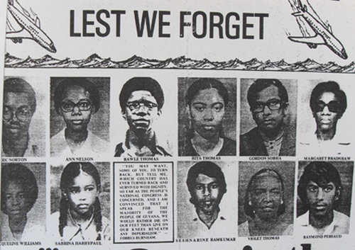 Photo: Guyanese victims of a terror attack on a Cuban airline by anti-Castro dissidents trained by the CIA. (Copyright Kaieteur Newsonline)