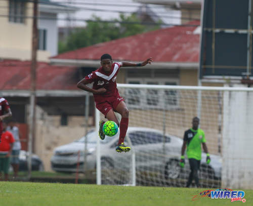 Photo: East Mucurapo Secondary attacker Zion McLeod goes airborne to control the ball during SSFL Premier Division action against St Benedict's College at Mucurapo Road on 6 October 2016. (Courtesy Nicholas Bhajan/Wired868)