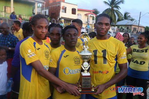 "Photo: Shiva Boys Hindu College players (foreground, from left) Tyrel ""Pappy"" Emmanuel, Quinn Rodney and Yohannes Richardson pose after securing the SSFL Premier Division title in Pleasantville on 22 October 2016. All three were National Under-20 members but Rodney and Emmanuel pulled out of a pre-tournament tour while Richardson was not selected. (Courtesy Chevaughn Christopher/Wired868)"