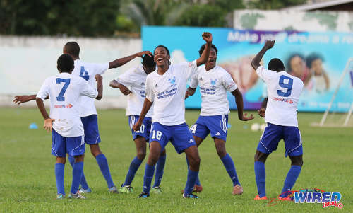 Photo: Feel like dancing! Malix Ottey (centre) and his Diego Martin North Secondary teammates show off some dance moves during their North Zone Intercol contest with Blanchisseuse Secondary at the St Mary's College ground in St Clair on 2 November 2016. Diego Martin North won 4-1. (Courtesy Sean Morrison/Wired868)