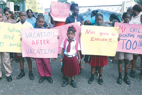 Photo: A protest at Fanny Government Primary School. (Copyright Trinidad Guardian)