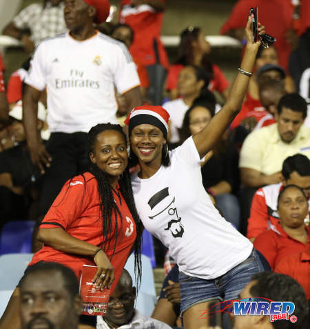 Photo: Soca Warriors fans enjoy the action during Russia 2018 World Cup qualifying action against Costa Rica at the Hasely Crawford Stadium on 11 November 2016. (Courtesy Sean Morrison/Wired868)