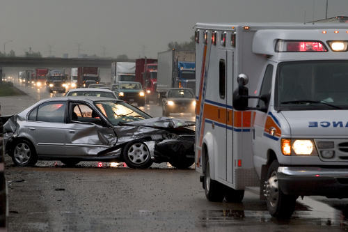 Photo: The scene of a vehicular accident.