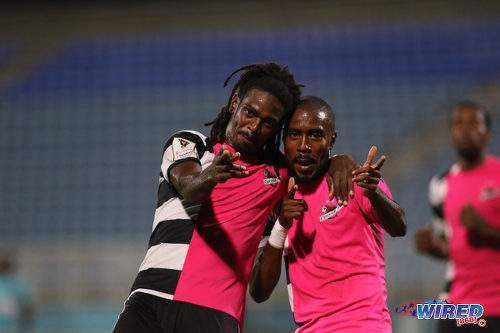 Photo: Central FC goal scorers Jason Marcano (left) and Johan Peltier celebrate during their 2-0 win over Morvant Caledonia United in Pro League action at the Ato Boldon Stadium in Couva on 20 December 2016. (Courtesy Chevaughn Christopher/Wired868)