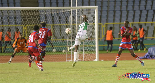 Photo: W Connection and Suriname international attacker Dimitrie Apai (centre) takes a crack at goal during Pro League action against St Ann's Rangers at the Hasely Crawford Stadium on 17 January 2017. (Courtesy Sean Morrison/Wired868)