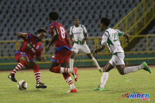 Photo: St Ann's Rangers and Trinidad and Tobago National Under-20 Team midfielder Josh Toussaint (left) executes a Cruyff turn during Pro League action against W Connection at the Hasely Crawford Stadium on 17 January 2017. (Courtesy Sean Morrison/Wired868)