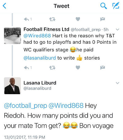 Photo: Football Fitness, presumably ex-Trinidad and Tobago football team fitness trainer Riedoh Berdien, takes a pop at Wired868 managing director Lasana Liburd.